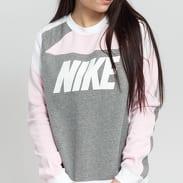 Nike W NSW Crew Fleece CB melange šedá / růžová / bílá
