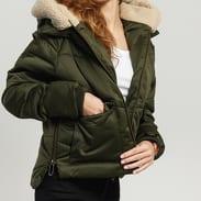 Urban Classics Ladies Sherpa Hooded Jacket tmavě olivová