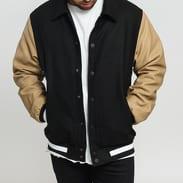 Urban Classics Collar College Jacket čierna / béžová