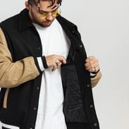 Urban Classics Collar College Jacket černá / béžová