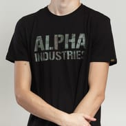 Alpha Industries Camo Print Tee černé / camo zelené
