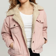 Urban Classics Ladies Oversize Sherpa Corduroy Jacket ružová