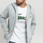 LACOSTE Full Zip Hooded Sweatshirt melange šedá