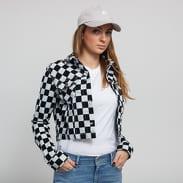 Urban Classics Ladies Short Check Twill Jacket bílá / černá