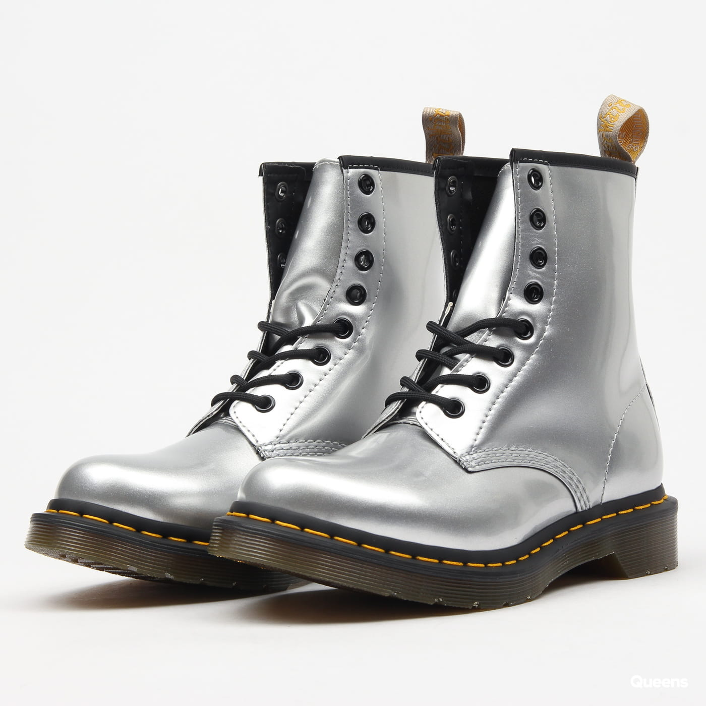exclusive shoes fresh styles new high Dr. Martens 1460 Vegan silver chrome paint metallic