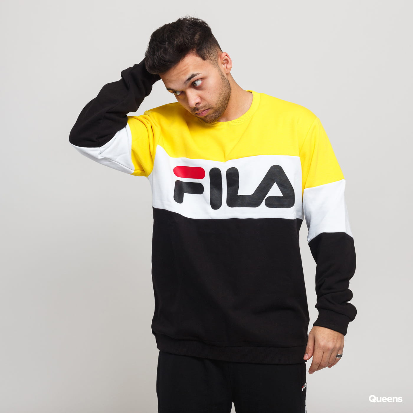 70c7548da8 Fila Men Straight Blocked Crew yellow / black / white