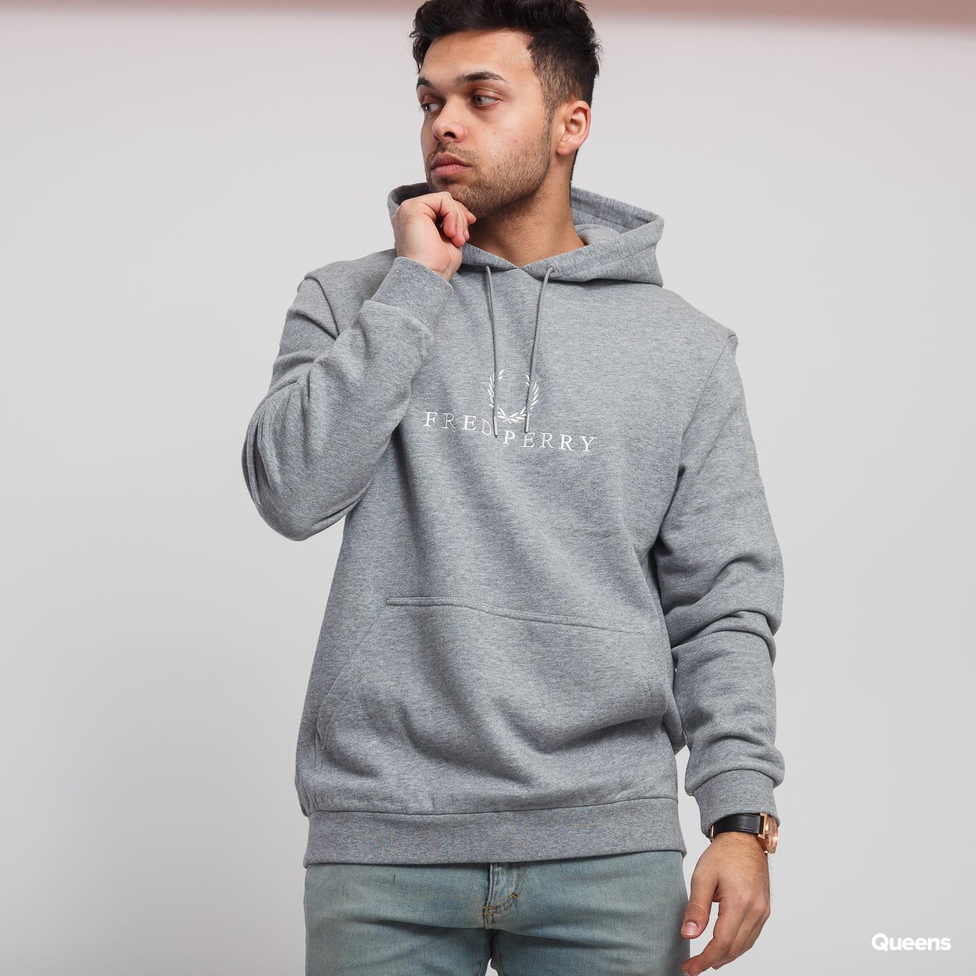 240e87372 Sweatshirt / Hoodie FRED PERRY Embroidered Hooded Sweatshirt melange gray  (J5525 420) – Queens 💚