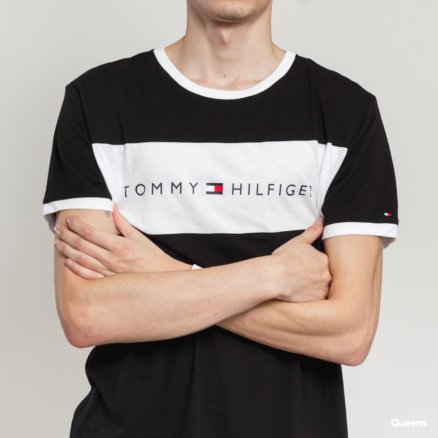 Tommy Hilfiger CN SS Tee Logo Flag black satin