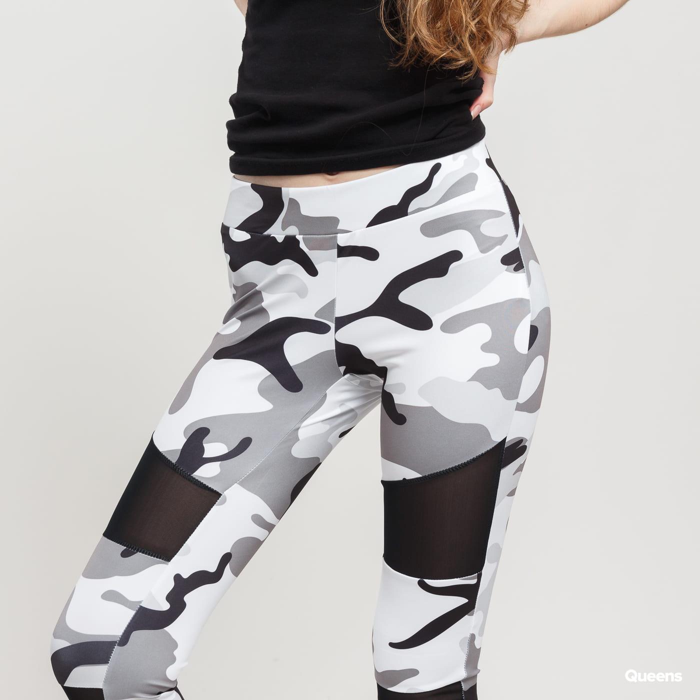 Urban Classics Ladies Camo Tech Mesh Leggings camo šedé / biele / čierne