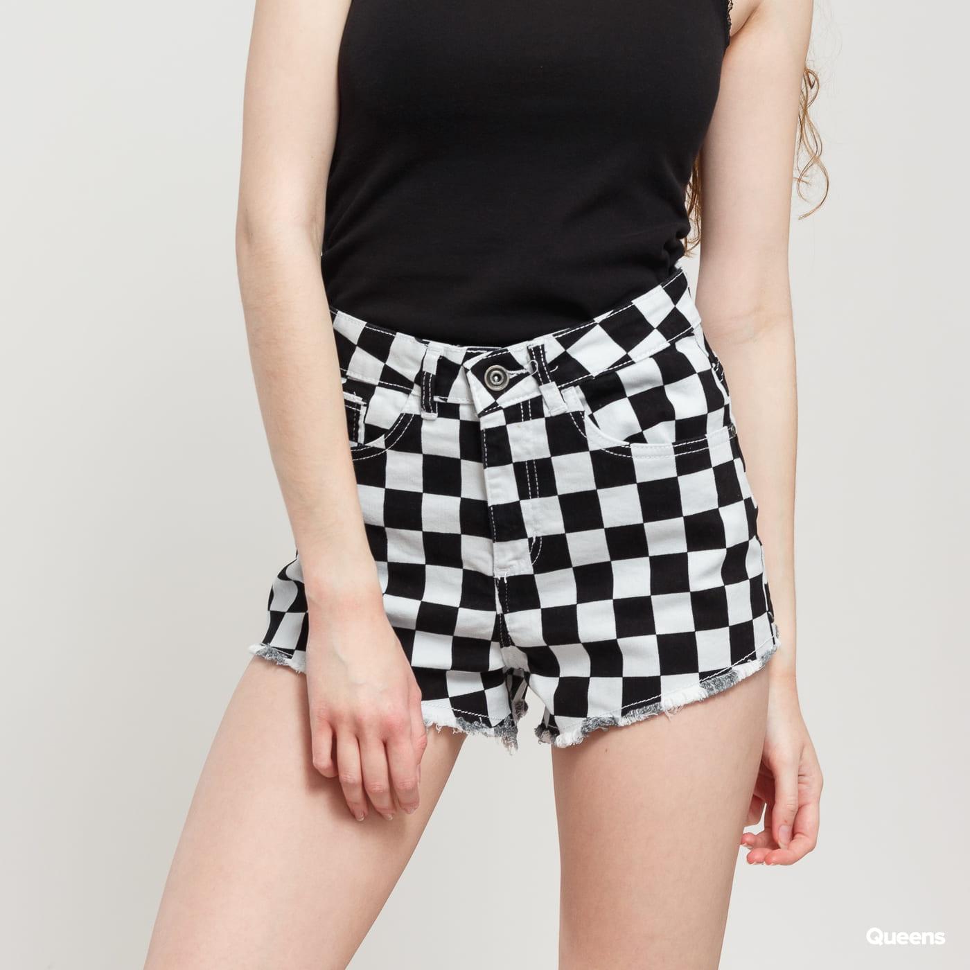Urban Classics Ladies Check Twill Hot Pants hellgrau / schwarz