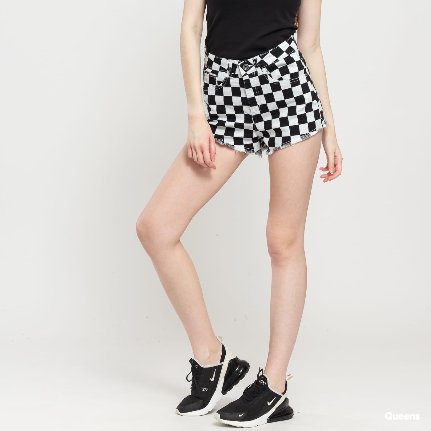 Urban Classics Ladies Check Twill Hot Pants svetlošedé / čierne