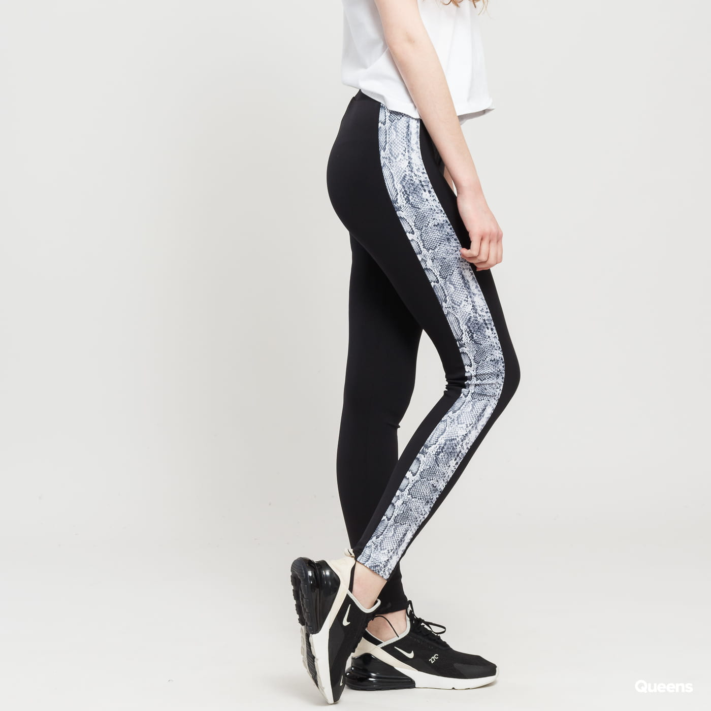 Urban Classics Ladies Side Striped Pattern Leggings čierne / šedé / biele
