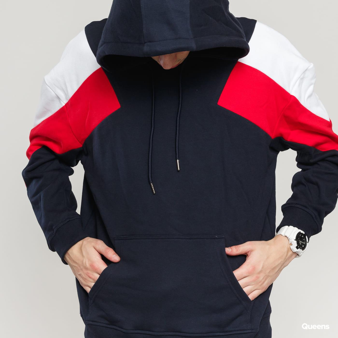 Urban Classics Oversize 3-Tone Hoody navy / red / white