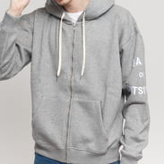BAND OF OUTSIDERS Band Logo Embroidered Zipped Hoodie melange šedá