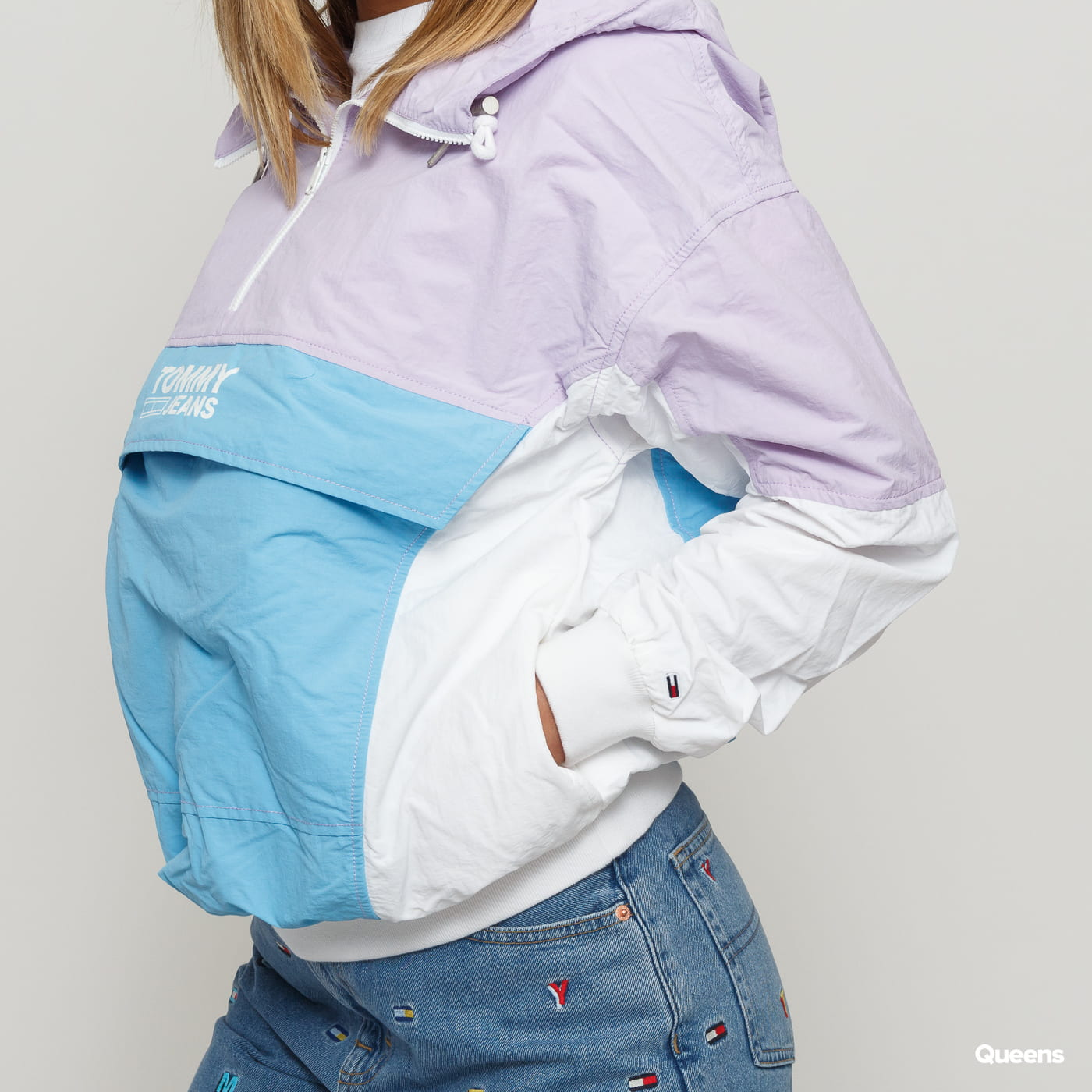 TOMMY JEANS TJW Retro Colorblock Popover light purple / light blue / white