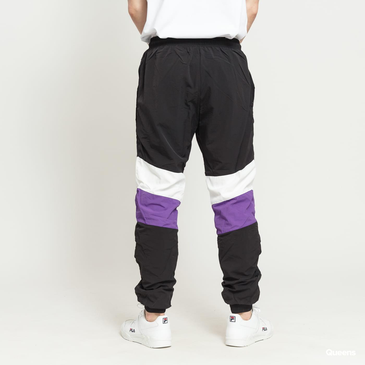 Urban Classics 3-Tone Crinkle Track Pants čierne / biele / fialové