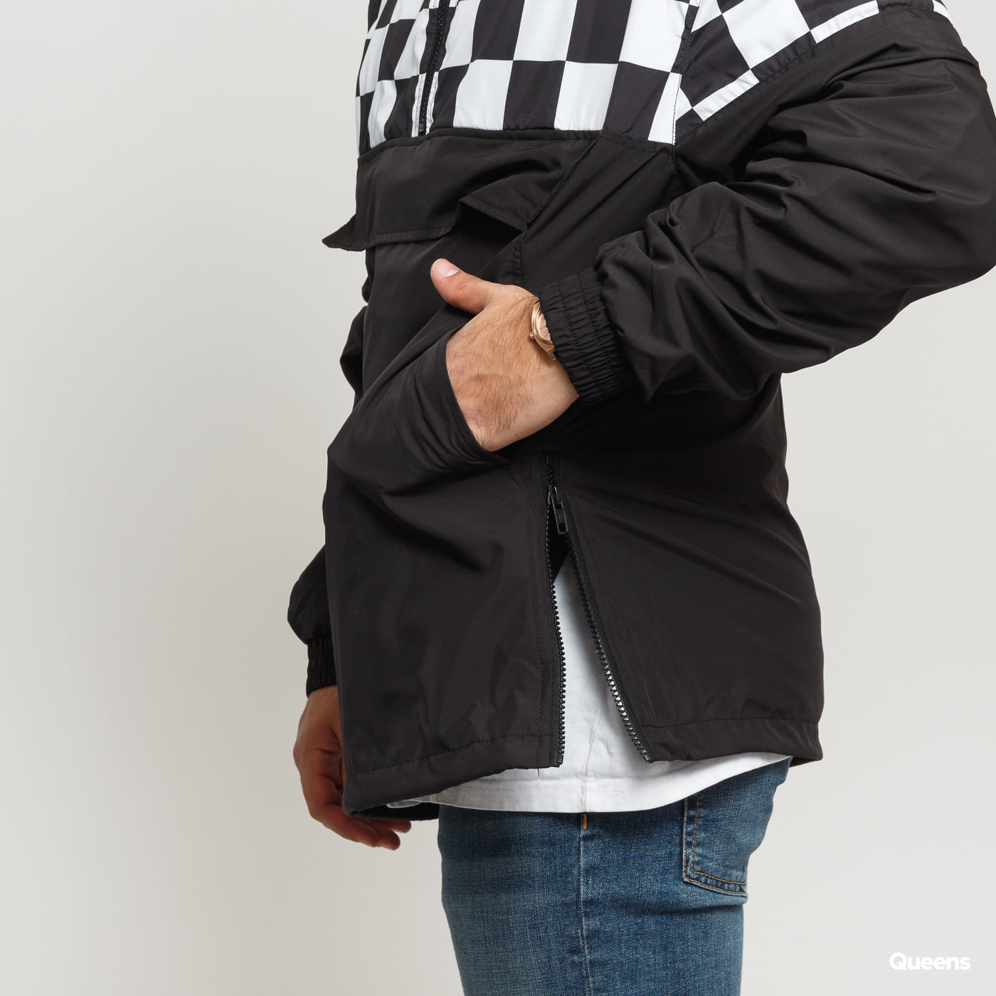 Urban Classics Check Pull Over Jacket black / white