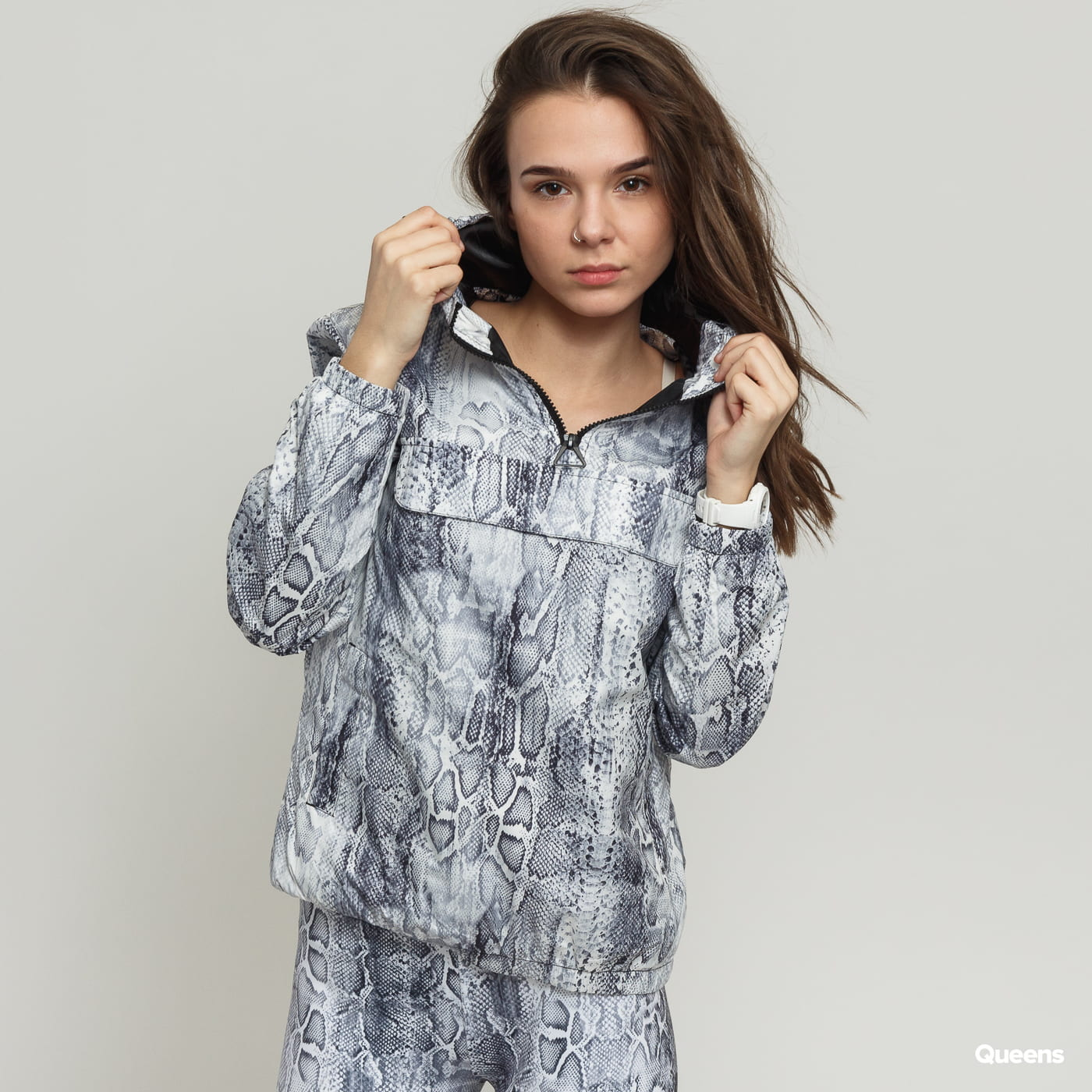 Urban Classics Ladies Pattern Pull Over Jacket biela / šedá
