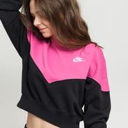 Nike W NSW Heritage Crew Fleece tmavě růžová / černá
