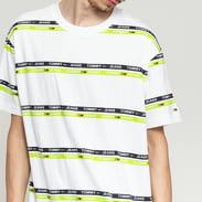 TOMMY JEANS M Signature Stripe Tee bílé / limetkové / černé