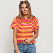 TOMMY JEANS W Stripe Corp Logo Tee tmavě růžové / žluté