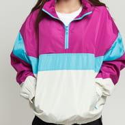 Urban Classics Ladies 3-Tone Stand Up Collar Pull Over Jacket fialová / krémová / modrá