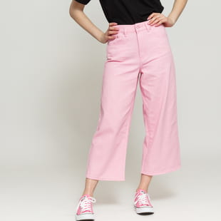 LAZY OAF Pink Cropped Wide Leg Jeans