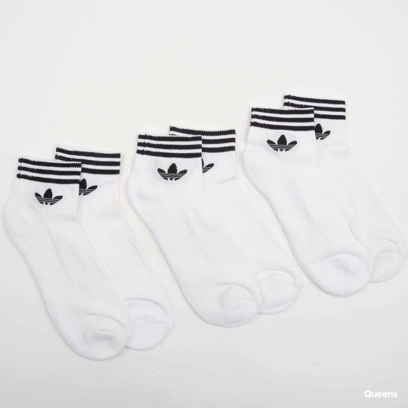 adidas Originals Trefoil Ankle Socks HC 3Pack biele / čierne