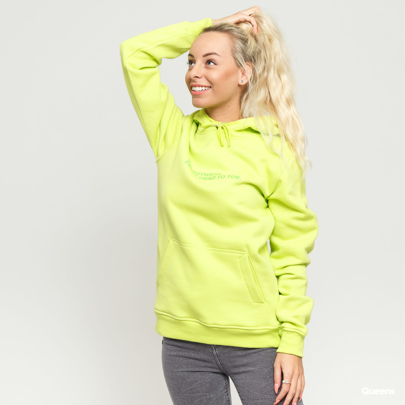 Queens Streetwear Hoodie yellow green
