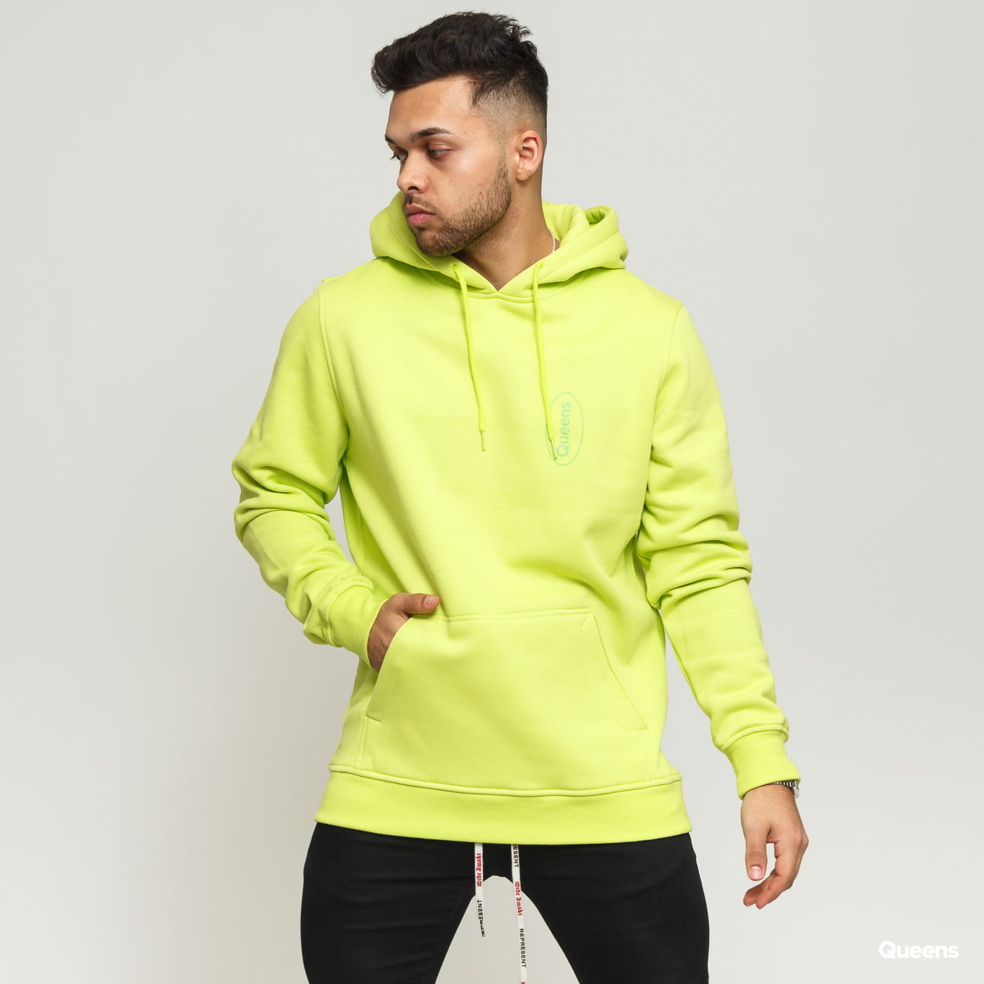 Queens Workwear Logo Hoodie yellow green