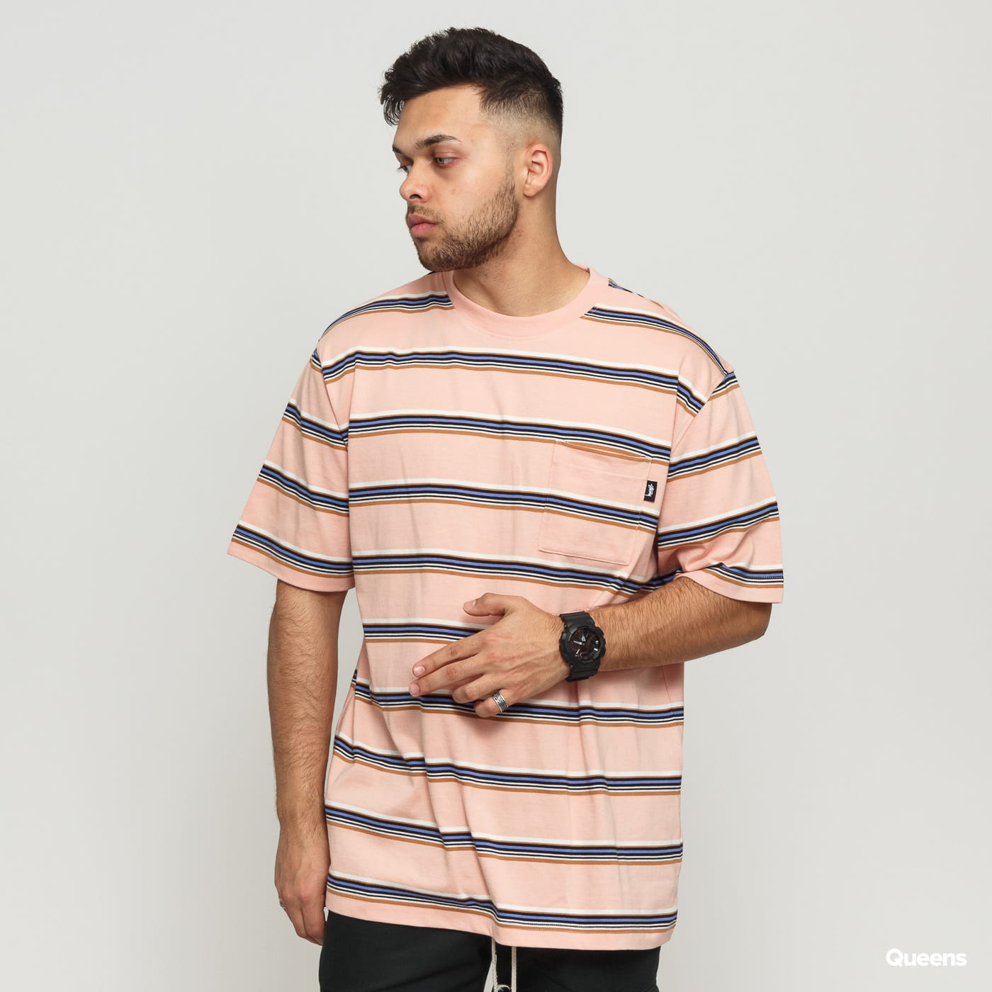 deff85a1b0 Short Sleeve T-Shirts Stüssy Malcom Stripe Crew pink / white / black /  purple (1140143 / 0609) – Queens 💚