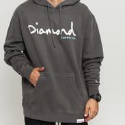Diamond Supply Co. OG Script Pigment Overdye Hoodie tmavě šedá