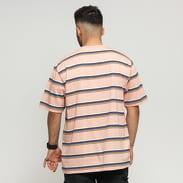 Stüssy Malcom Stripe Crew růžové / bílé / černé / fialové