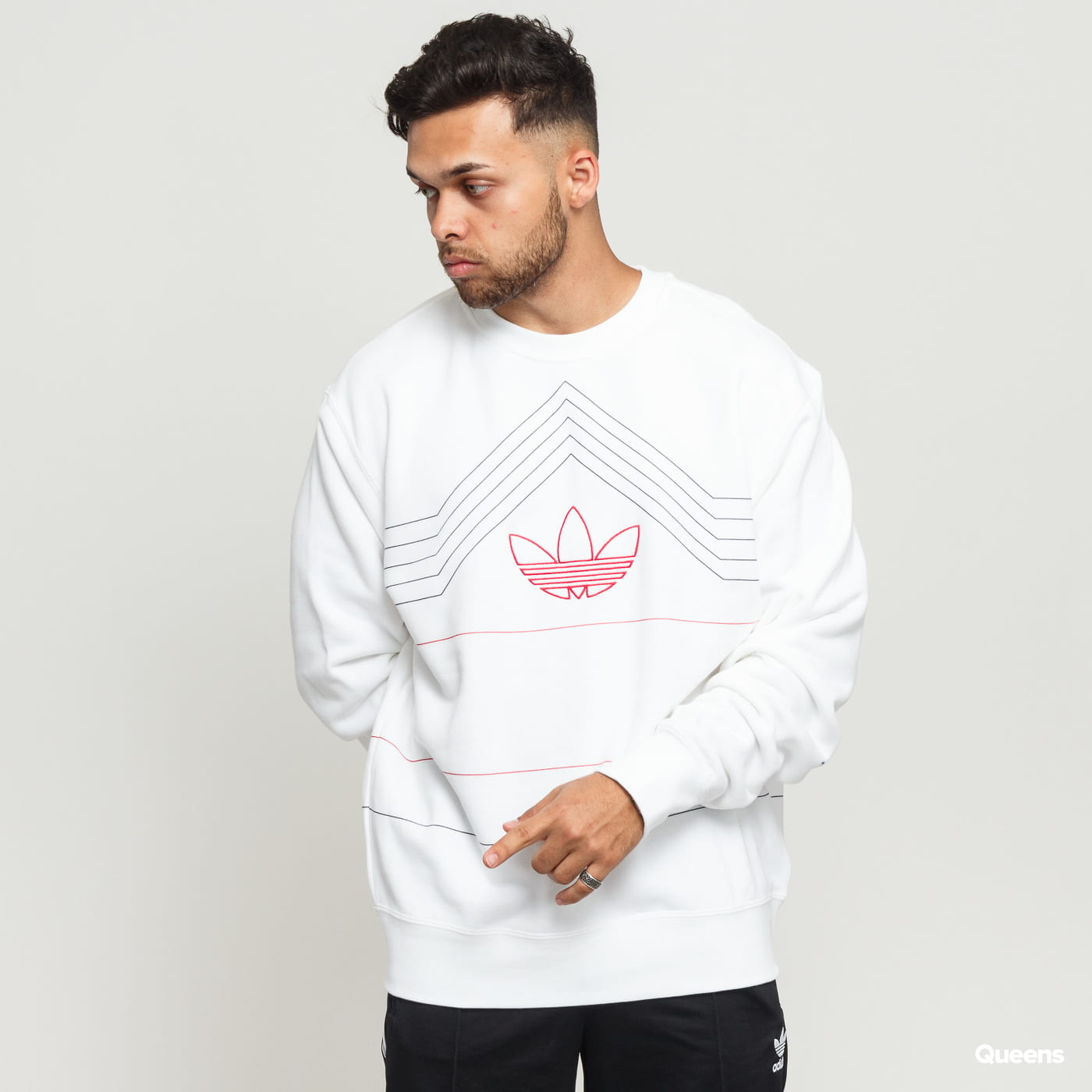 ascolto la musica Gallo mitologia  Sweatshirt / Hoodie adidas Originals Rivalry Crew white (ED5660) – Queens 💚
