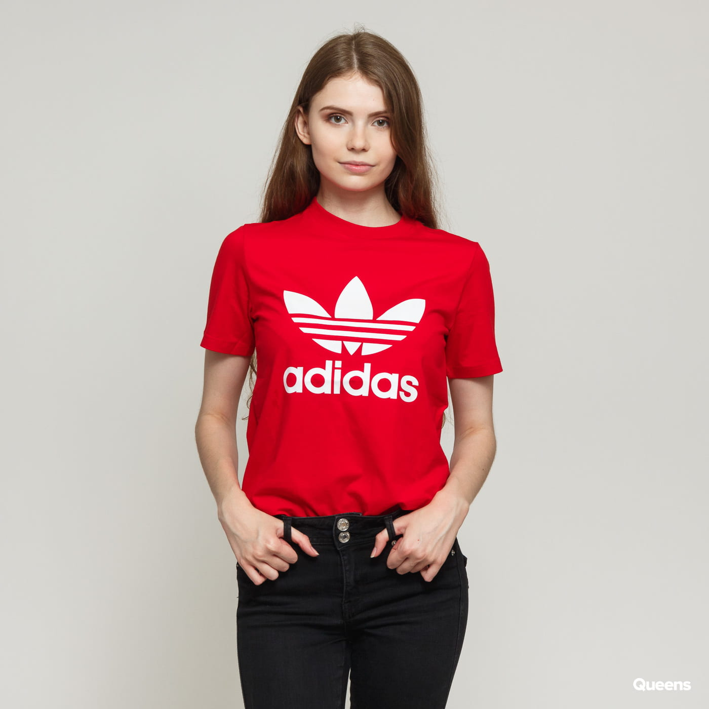 order online united states lace up in Women T-Shirt adidas Originals Trefoil Tee red (ED7493) – Queens 💚