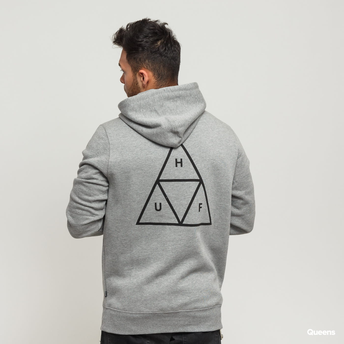 HUF Hoodie Essentials Triple Triangle šedá