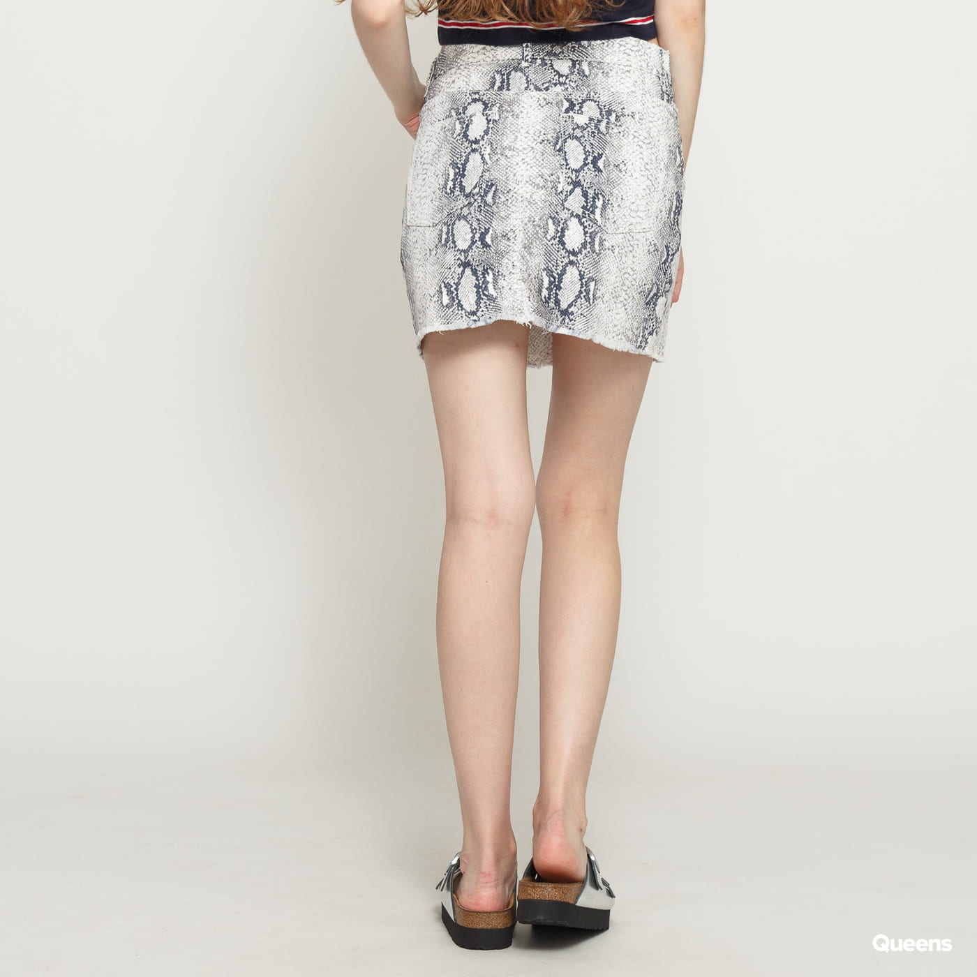 Urban Classics Ladies Animal Stretch Twill Skirt bílá / tmavě šedá