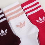 adidas Originals 3 Pack Mid Cut Crew Sock vínové / růžové / bílé