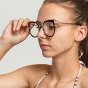 Jeepers Peepers Black With Clear Sunglasses černé / zlaté / průhledné