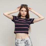 Urban Classics Ladies Yarn Dyed Skate Stripe Cropped Tee navy / rot / weiß