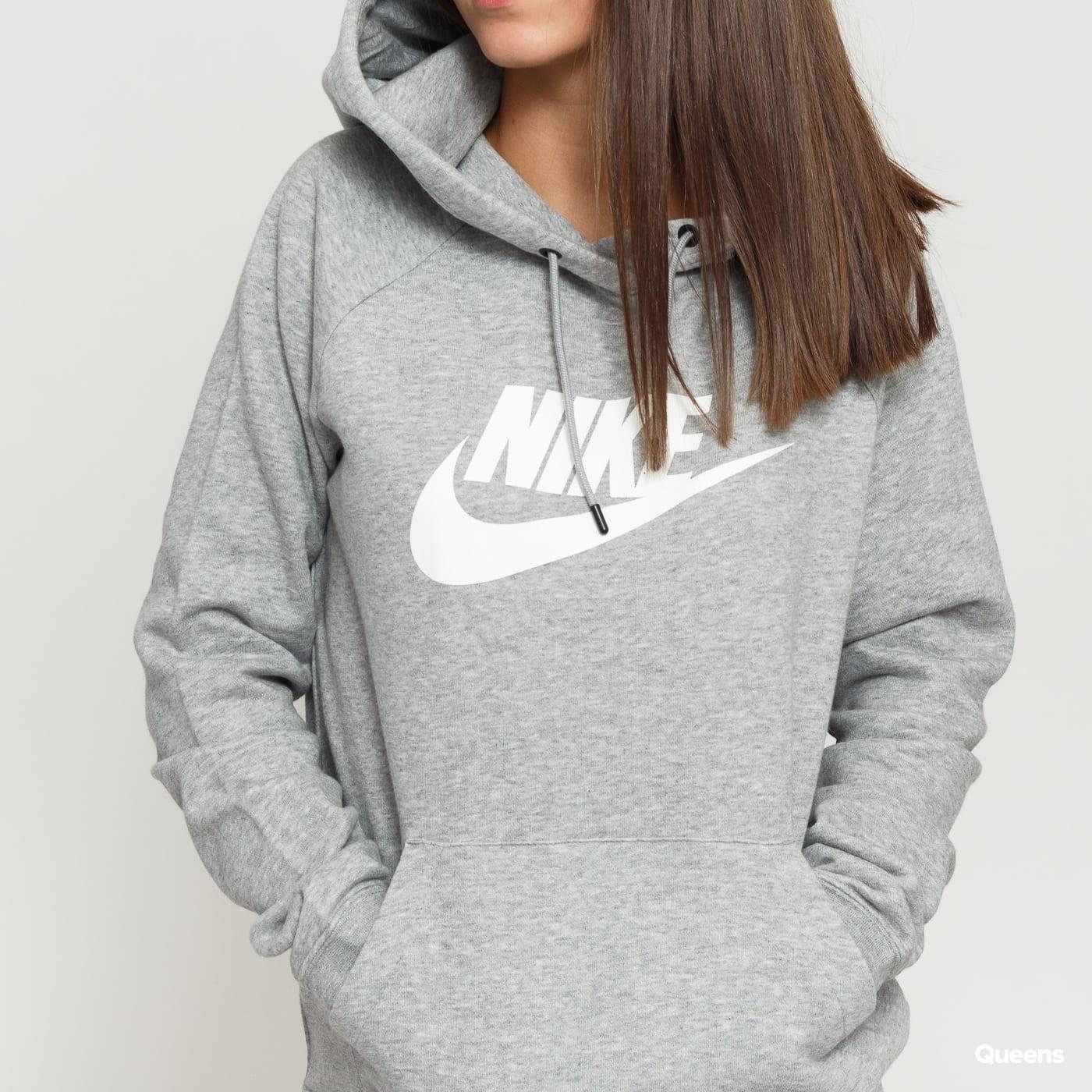 Nike W NSW Essential Hoodie PO šedá