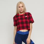 Nike W NSW Tee Futura Plaid Crop Top červené / černé