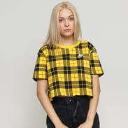 Nike W NSW Tee Futura Plaid Crop Top žluté / černé