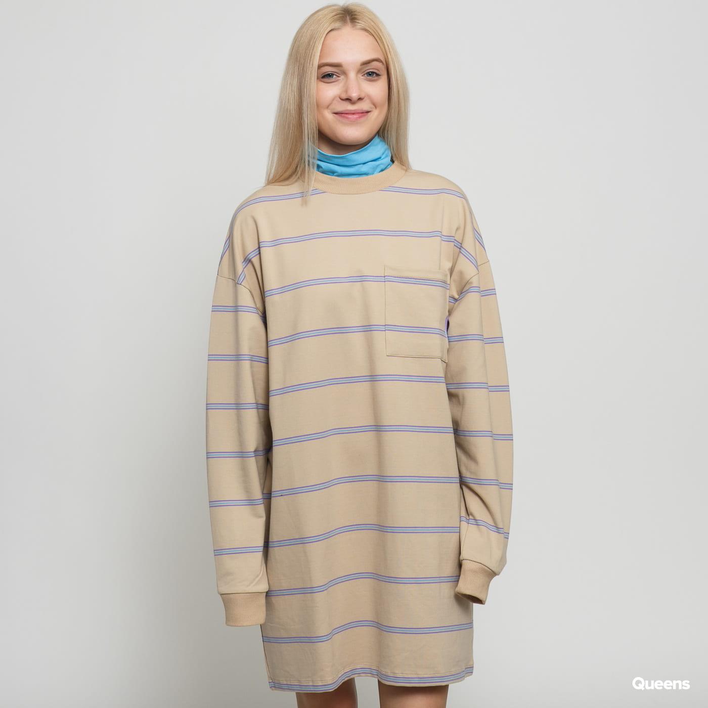 LAZY OAF Open Tabs Sweater Dress béžové / modré / fialové