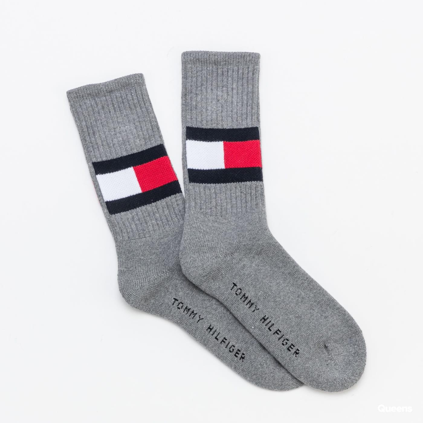 Tommy Hilfiger TH Jeans Flag Socks melange tmavošedé