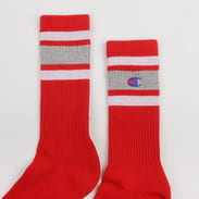 Champion Crew Socks červené / melange šedé / bílé