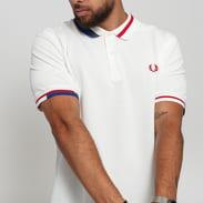 FRED PERRY Abstract Collar Pique Shirt bílé