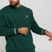 FRED PERRY Crew Neck Sweatshirt tmavě zelená