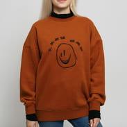 LAZY OAF Squish Face Layer Sweatshirt hnědá