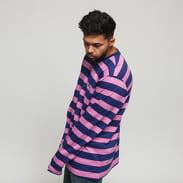Stüssy Printed Stripe LS Crew navy / růžové